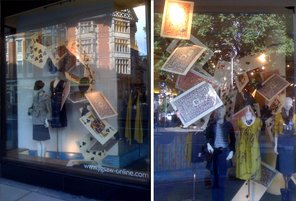 playing cards shop window